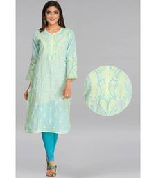 Ada Hand Embroidered Sea Green Cotton Lucknow Chikan Kurti