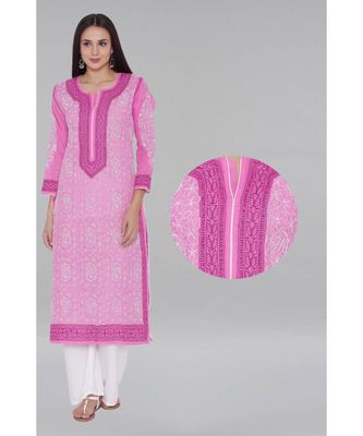 Pink Embroidered Cotton Chikankari Kurti