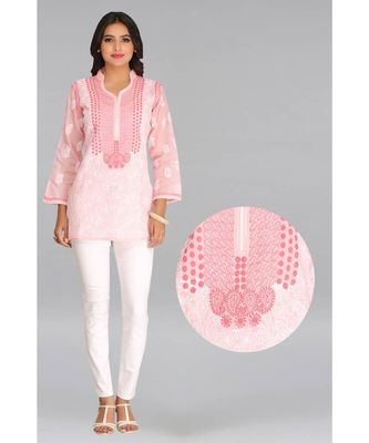 Peach embroidered cotton chikankari-Short kurtis