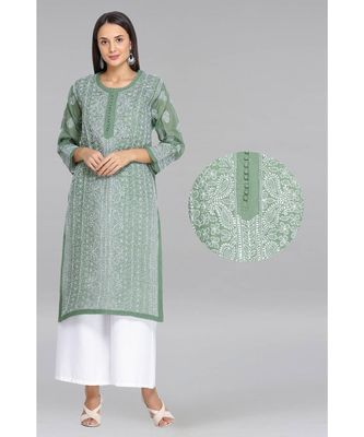 Ada Hand Embroidered Green Cotton Lucknow Chikan Kurti- A270902