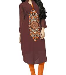 Party Wear Brow Color Georgette Embroidery Kurti For Women