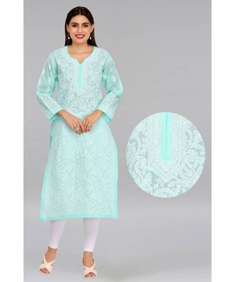 Ada hand embroidered sea green cotton lucknow chikankari kurti