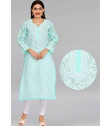 Ada Hand Embroidered Sea Green Cotton Lucknow Chikankari Kurti