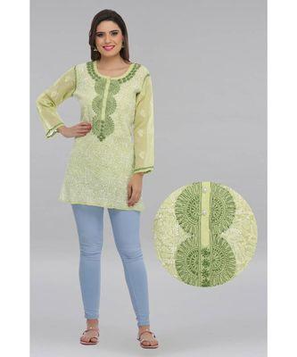 Light green embroidered cotton chikankari Short kurti