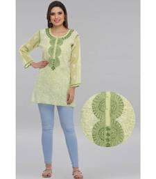 Light green embroidered cotton chikankari Short kurti
