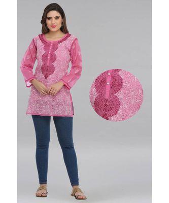 Onion pink embroidered cotton chikankari Short kurti