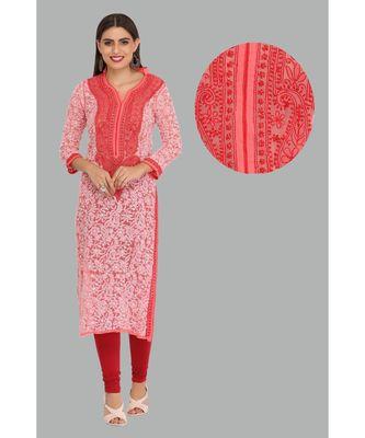 Pink embroidered georgette chikankari-kurtis