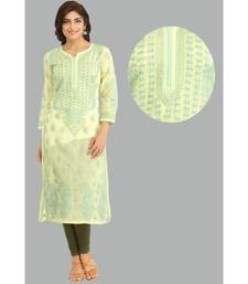 Ada Hand Embroidered Lemon  Cotton Lucknow Chikan Kurti- A295522