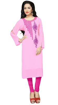 Casual Wear Baby Pink Color Georgette Embroidery Kurti For Women