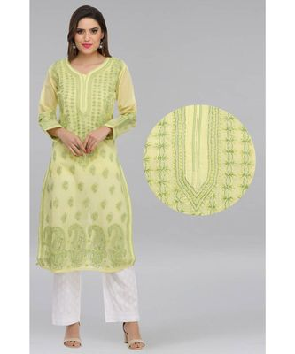 Ada hand embroidered lemon cotton lucknow chikan kurti