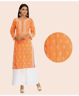 Ada Hand Embroidered Rust Cotton Lucknowi Chikan Kurti