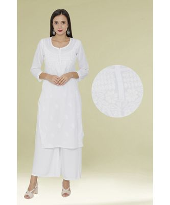 White embroidered cotton chikankari-kurtis