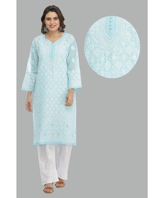 Ada Hand Embroidered Blue Cotton Lucknow Chikankari Kurti