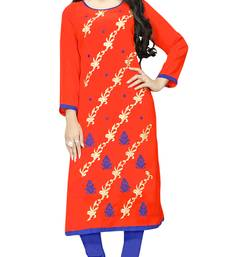 Orange Color Party Wear Georgette Embroidery Kurti For Women
