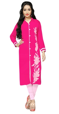Pink Color Georgette Embroidery Kurti For Women