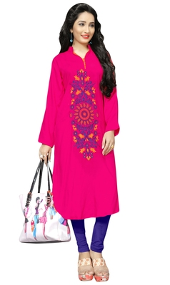 Pink Color Casual Wear Rayon Soft Cotton Embroidery Kurti For Women