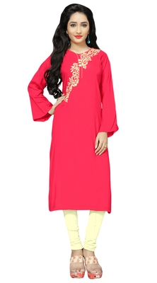 Party Wear Fanta Color Rayon Soft Cotton Embroidery Kurti For Women