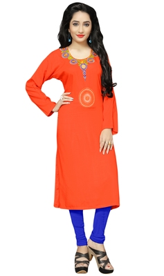 Occasion Wear Rayon Soft Cotton Embroidery Kurti For Women