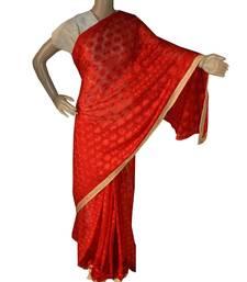 Red woven chiffon Phulkari Saree
