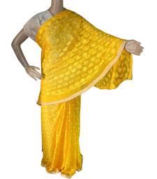 Yellow woven chiffon Phulkari Saree