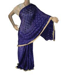 Royal Blue woven chiffon Phulkari Saree