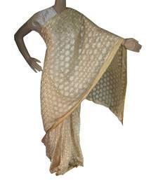 Off White woven chiffon Phulkari Saree