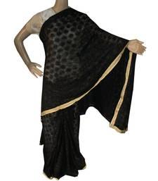 Black woven chiffon Phulkari Saree