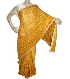 Gold Mustard woven chiffon Phulkari Saree