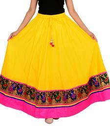 yellow Cotton Designer lace Work Long Skirt for Women