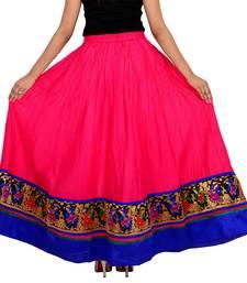 pink Cotton Designer lace Work Long Skirt for Women