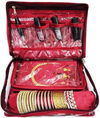 Atorakushon® Women's Satin Multipurpose Make-Up Pouch Necklace Cosmetic Jewellery Traveling Organizer (Maroon)