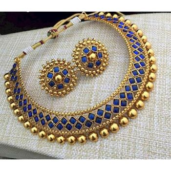 Golden Ball With Blue Stone Traditional Brass Necklace Jewellery Set With Earrings For Women Girls