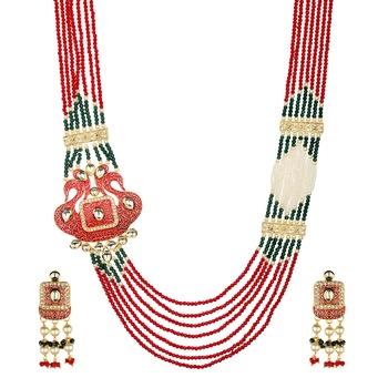 Wedding Red Kundan Multilayered Onyx Necklace Sets