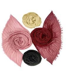 Multicolor  Premium Crikle Cotton Glitter Stole