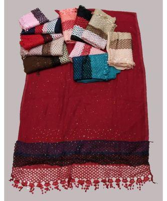 multicolor  Premium cotton Glitter Triple Layer Stole