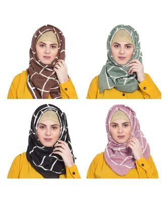 Multicolor  Premium Cotton Designer Grid Hijab