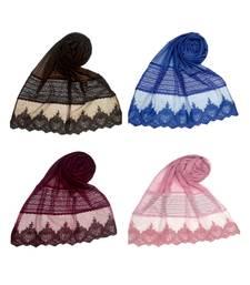 Multicolor  Premium Cotton Designer Diamond Studed Net Hijab