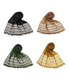 Multicolor  Premium Cotton Designer 4 Liner Diamond Studed Stole