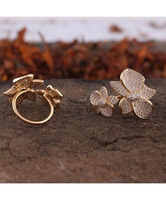 Golden Flower Design Smart Look Beautiful Designer Cubic Zirconia Ring