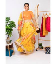 Yellow Colored Floral Print Embroidered Organza Wedding Designer Lehenga Choli Set