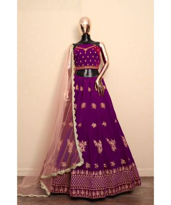 Purple Embroidered Velvet Semi Stitched Lehenga