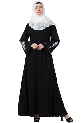 A-Line Abaya With Embroidery (Black)