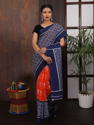 Blue-Orange printed Saree