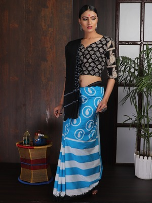 Blue Black Striped Saree
