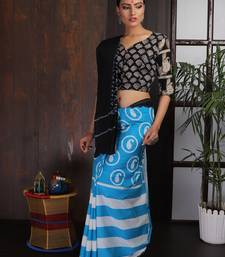 Blue Black Striped Saree