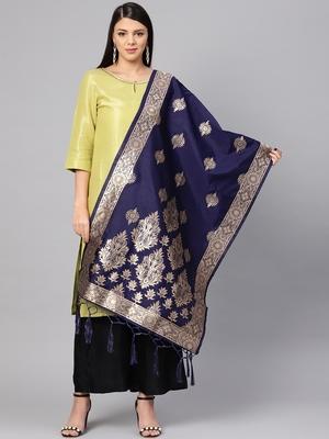 Women's Navy Blue Woven Banarasi Silk dupattas