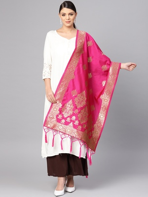 Women's Rani Pink Woven Banarasi Silk dupattas