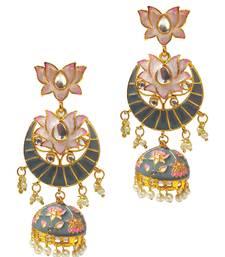 Grey Long Dangle Meenakari Enamel Kundan Beads Pink Lotus Chandbali Jhumka Earrings Women Girls