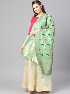 Women's Cyan Green Woven Banarasi Silk dupattas