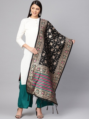Women's Black Woven Banarasi Silk dupattas